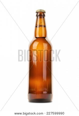Glass bottle of beer isolated on white