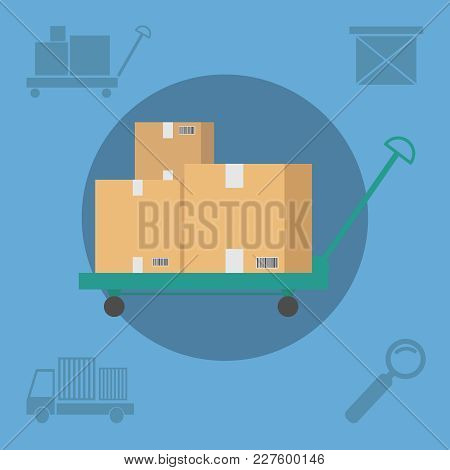 A Lot Of Brown Paper Boxes In A Post Office On A Blue Background. Vector Illustration.