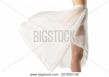 Cropped View Of Nude Girl In Transparent Chiffon Dress, Isolated On White