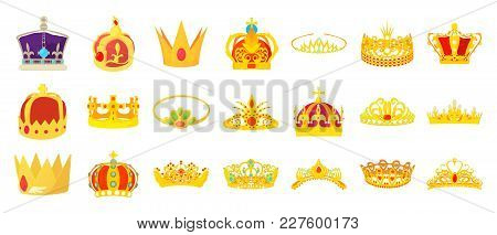 Crown Icon Set. Cartoon Set Of Crown Vector Icons For Web Design Isolated On White Background