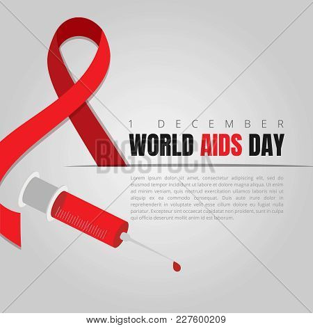 World Aids Day Red Ribbon Web Banner Background For 1 December Awareness World Day Logo. Vector Hiv