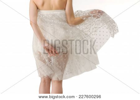 Rear View Of Girl Posing In Transparent Chiffon Dress, Isolated On White