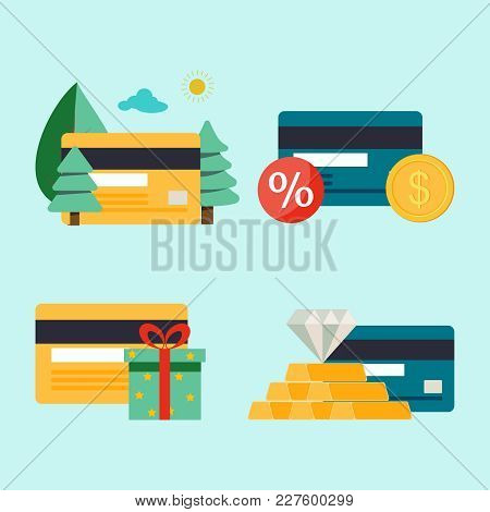 Four Credit Cards With Money For Traveling, Gifts, And Diamantes On A Blue Background. Golden And Un