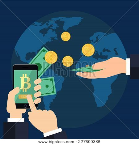 Raising Bitcoin Courses On A Blue Background. Two Hands With A Phone And With Golden Coins. Money Sa