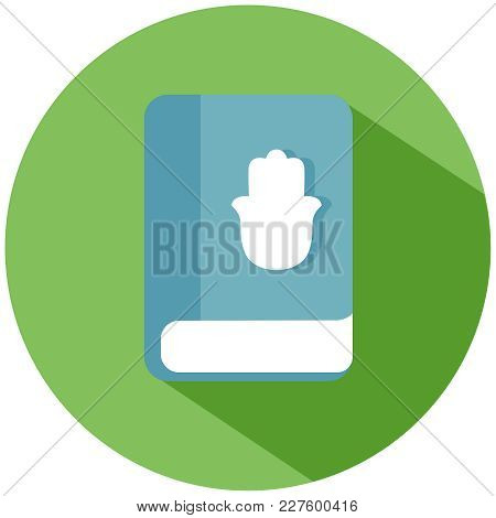 Realistic Book With A Palm. A Blue Book With A Hand In A Green Circle, Isolated On A White Backgroun