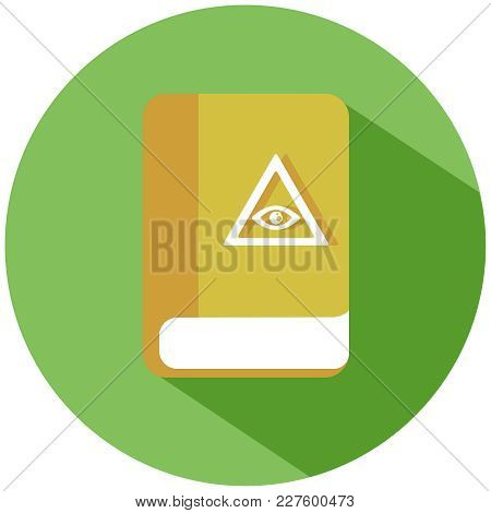 Realistic Yellow All-seeing Eye On A Book In A Green Circle. A Yellow Book, Isolated On A White Back