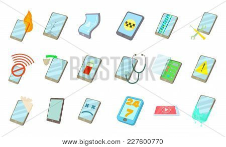 Smartphone Icon Set. Cartoon Set Of Smartphone Vector Icons For Web Design Isolated On White Backgro