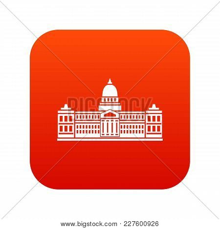 Palace Of Congress In Buenos Aires, Argentina Icon Digital Red For Any Design Isolated On White Vect