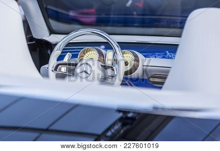 Paris, France - February 04, 2018: Steering Wheel With The Famous Mercedes Logo In The Vision Merced