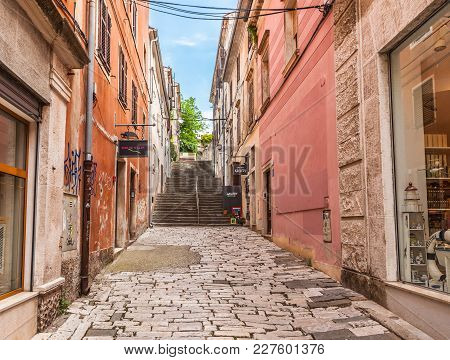 Pula, Croatia-june 10, 2016. View Of The Typical Street In Old Town Of The Pula City On June 10, 201