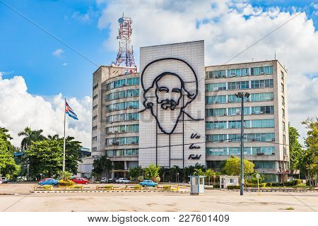 Havana, Cuba-07 October, 2017. Ministry Of The Comunications Building With Face Of Camilo Cienfuego