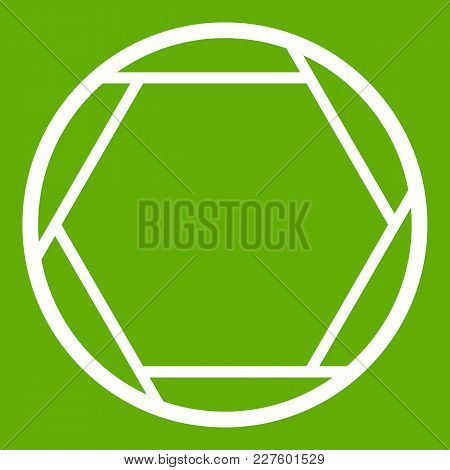 Closed Objective Icon White Isolated On Green Background. Vector Illustration