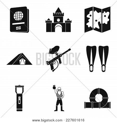 Family Trip Icons Set. Simple Set Of 9 Family Trip Vector Icons For Web Isolated On White Background