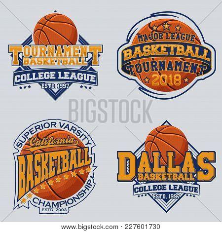 Set Of Vintage T-shirt Graphic Designs, Print Stamps, Basketball Typography Emblems, Creative Design