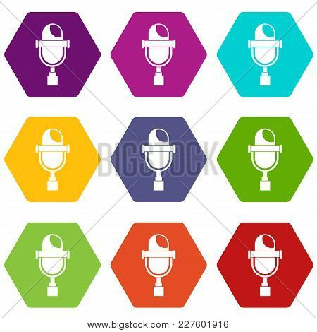 Retro Microphone Icon Set Many Color Hexahedron Isolated On White Vector Illustration