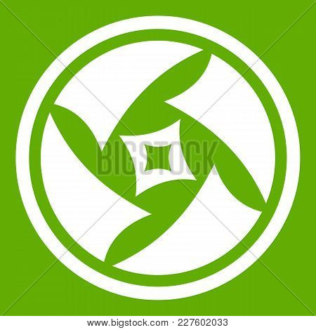 Covered Objective Icon White Isolated On Green Background. Vector Illustration
