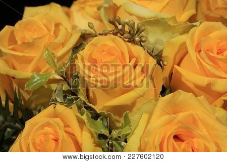 A Bouquet Of Wonderful Yellow Roses Against Black Background