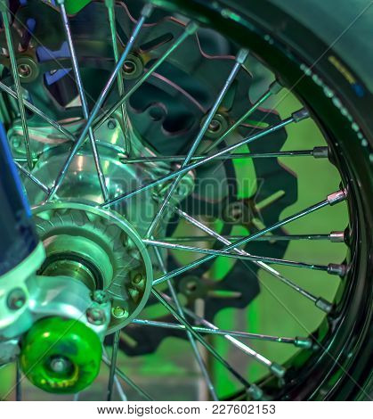 Front Wheel Of Sports Bike Motorcycle With Spokes And Tread Protector For Motocross Speedway Enduro.