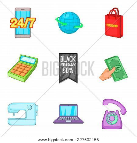 Retail Sale Icons Set. Cartoon Set Of 9 Retail Sale Vector Icons For Web Isolated On White Backgroun