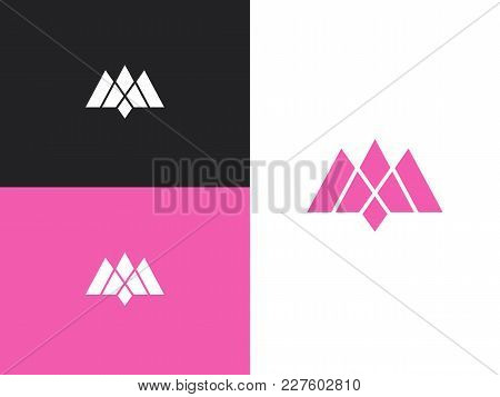 Pink Crown Origami Logo Template. Letter M Crown Logo Design.