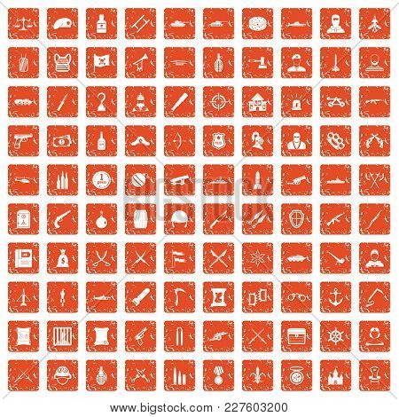 100 Weapons Icons Set In Grunge Style Orange Color Isolated On White Background Vector Illustration