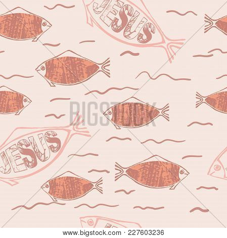 Christian Fish Symbol On Textured Background, Seamless Pattern For Easter Card, Banner, Element For