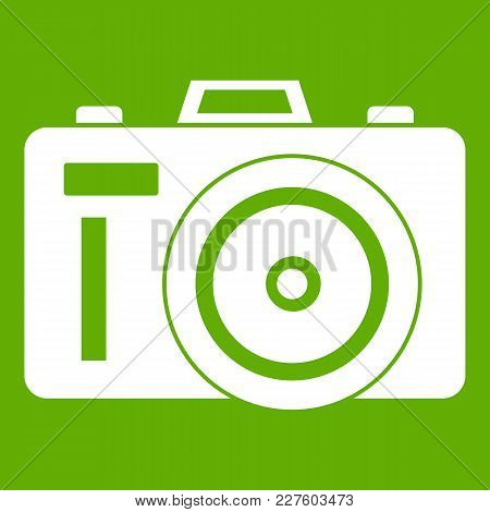 Photocamera Icon White Isolated On Green Background. Vector Illustration