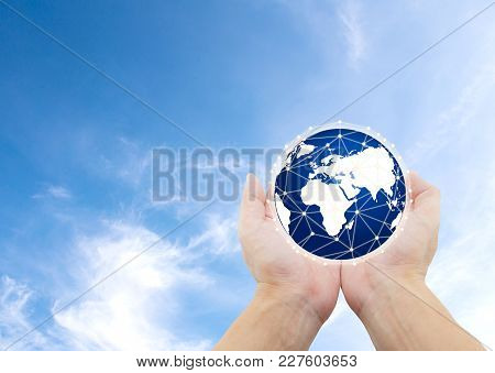 World Nature, Care Protection Environment Concept, Hand Holding Globe With Social Network Connection