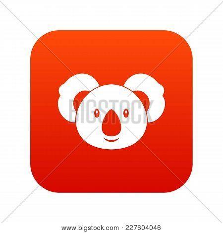 Koala Icon Digital Red For Any Design Isolated On White Vector Illustration