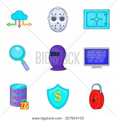 Safety Icons Set. Cartoon Set Of 9 Safety Vector Icons For Web Isolated On White Background