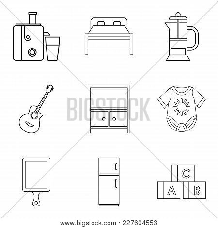 Domicile Icons Set. Outline Set Of 9 Domicile Vector Icons For Web Isolated On White Background