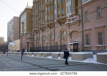 February 13, 2018 Moscow, Russia. The building of the Embassy of the United States of America in Mos