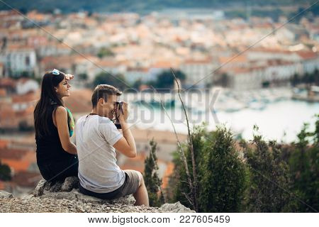 Young Couple Travelling And Visiting Europe.summer Touring Europe And Mediterranean Culture.colourfu