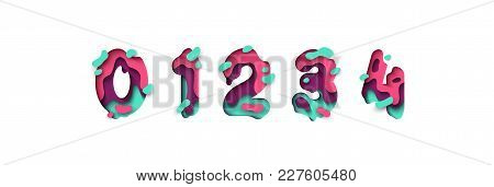 Paper Cut Number Zero, One, Two, Three, Four, Figure 0, 1, 2, 3, 4. Design 3d Sign Isolated On White