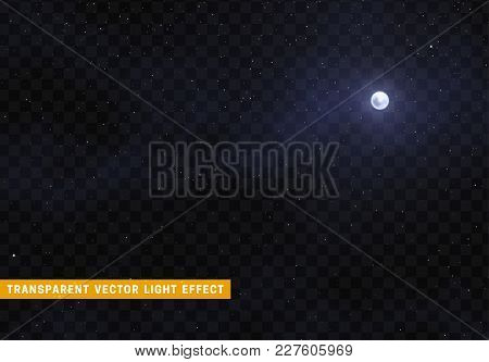 Light Night Sky With A Bright Moon. Space Stars With The Effect Transparent Background.