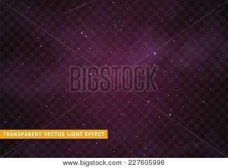 Space Stars Background. Light Night Sky Vector Transparent Effect.