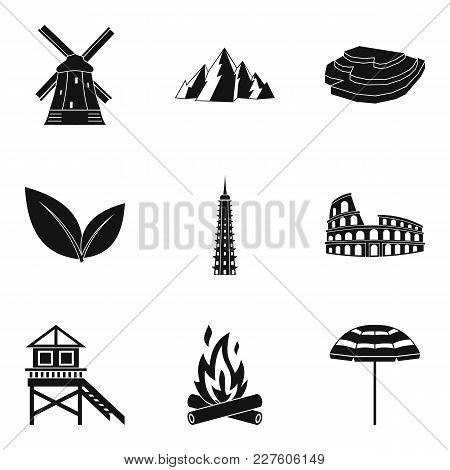 Scenery Icons Set. Simple Set Of 9 Scenery Vector Icons For Web Isolated On White Background