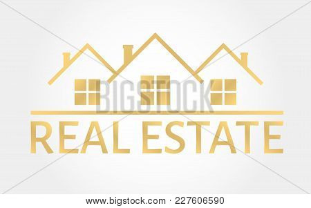 Real Estate Gold Logo. House Icon In Line Style. Creative Logo Design. Real Estate Agency Template.