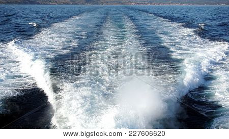 The Track After The Boat. View From The Boat Or Ship.