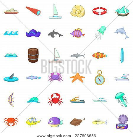 Saltwater Icons Set. Cartoon Set Of 36 Saltwater Vector Icons For Web Isolated On White Background