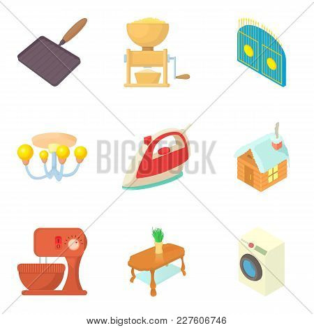 Household Utensils Icons Set. Cartoon Set Of 9 Household Utensils Vector Icons For Web Isolated On W