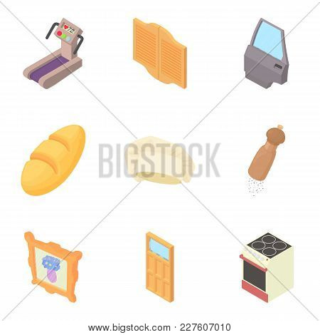 Household Items Icons Set. Cartoon Set Of 9 Household Items Vector Icons For Web Isolated On White B