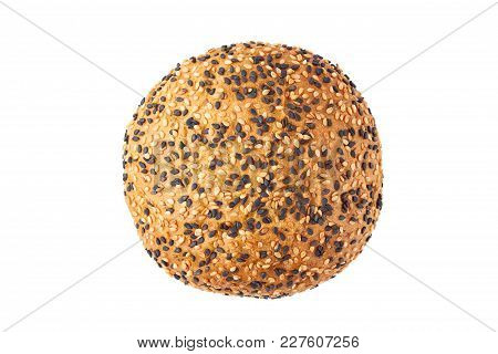 Bun For Hamburgers With White And Black Sesame Seeds Isolated On White Background. Top View