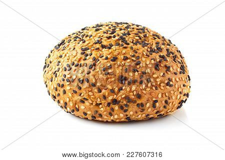Bun For Hamburgers With White And Black Sesame Seeds Isolated On  White Background