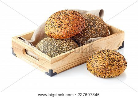 Wooden Tray With Burger Buns Isolated On White Background
