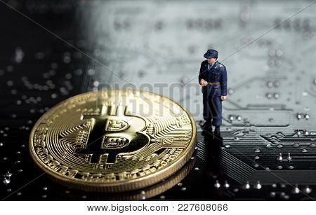 Block Chain And Bitcoin Safety Or Security Trust Concept, Miniature Figure Security Guard Standing W