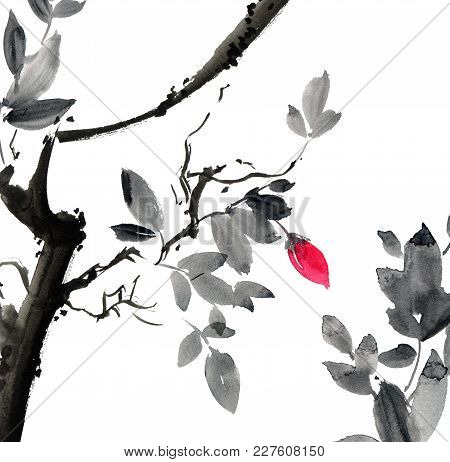 Watercolor And Ink Illustration Of Tree With Leaves And Red Flower Bud. Sumi-e, U-sin Painting. Mini