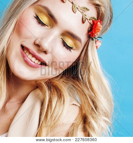 Young Blond Woman Dressed Like Ancient Greek Godess, Jewelry Close Up Isolated, Beautiful Girl Hands