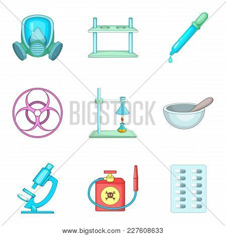 Scientific Laboratory Icons Set. Cartoon Set Of 9 Scientific Laboratory Vector Icons For Web Isolate