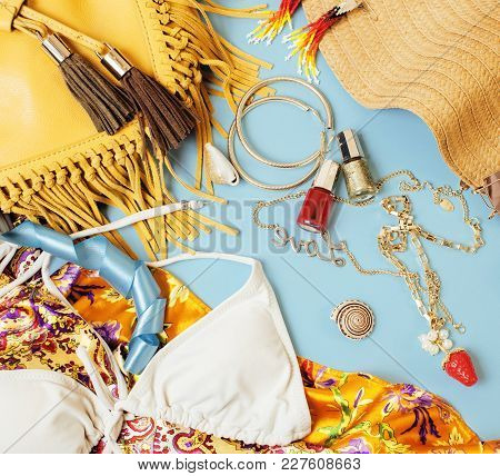 Diverse Travel Girlish Stuff On Colorful Background Blue And Yellow, Nobody Tourism Lifestyle Concep